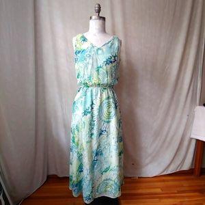 J.Jill Cotton/Silk Watercolor Pacific Blue Maxi
